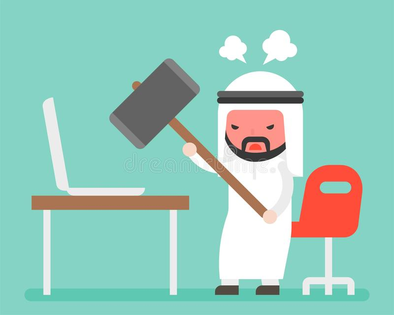 Angry Arab businessman carrying hammer to destroy laptop on desk stock illustration