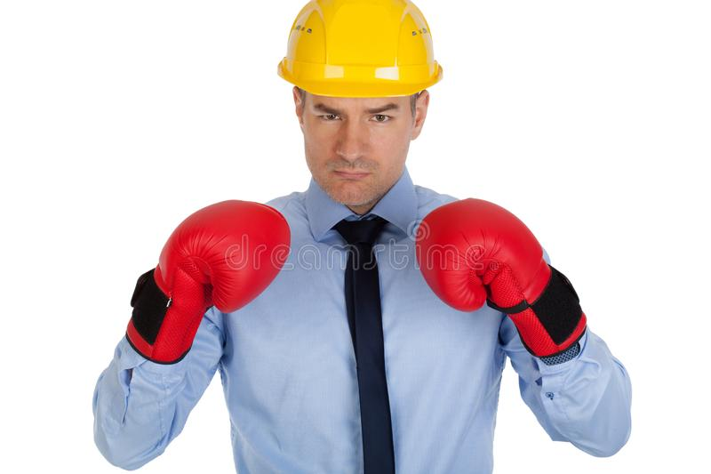 Angry architect with boxing gloves. royalty free stock photography