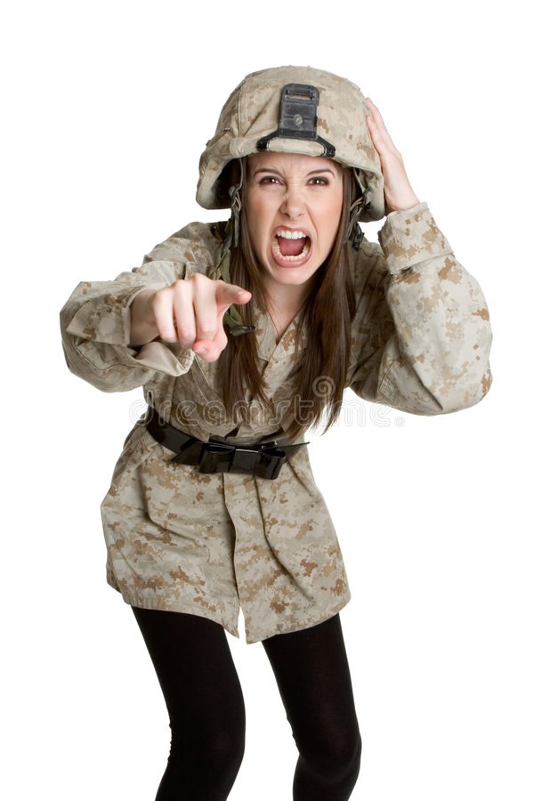 Download Angry Army Girl stock image. Image of hard, pointing, kevlar - 5007469
