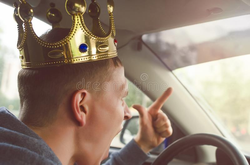 Angry arrogant driver. stock photo