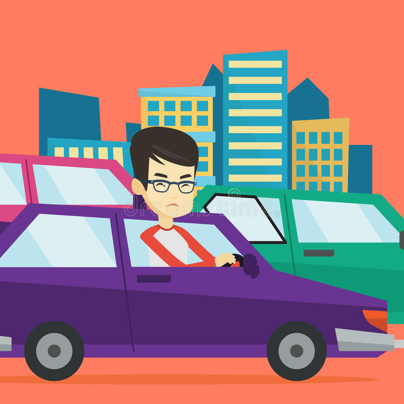 Angry asian man in car stuck in traffic jam. Angry asian car driver stuck in a traffic jam. Irritated young man driving a car in a traffic jam. Agressive driver royalty free illustration