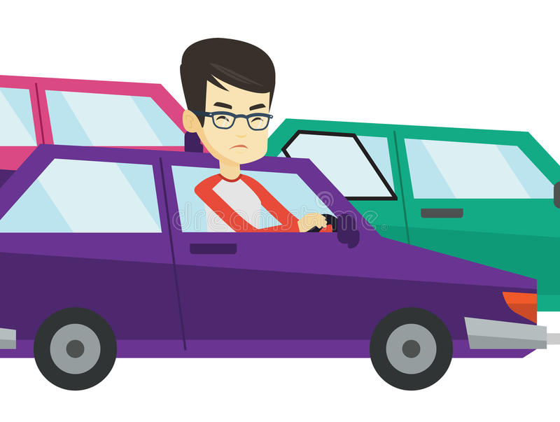 Angry asian man in car stuck in traffic jam. Angry asian car driver stuck in traffic jam. Irritated young man driving a car in traffic jam. Agressive driver vector illustration