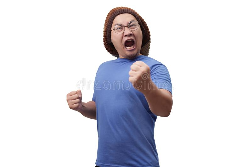 Angry Asian Man Expression Ready to Fight stock photos