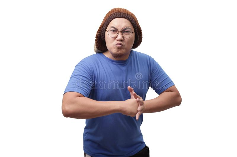 Angry Asian Man Expression Ready to Fight royalty free stock photos