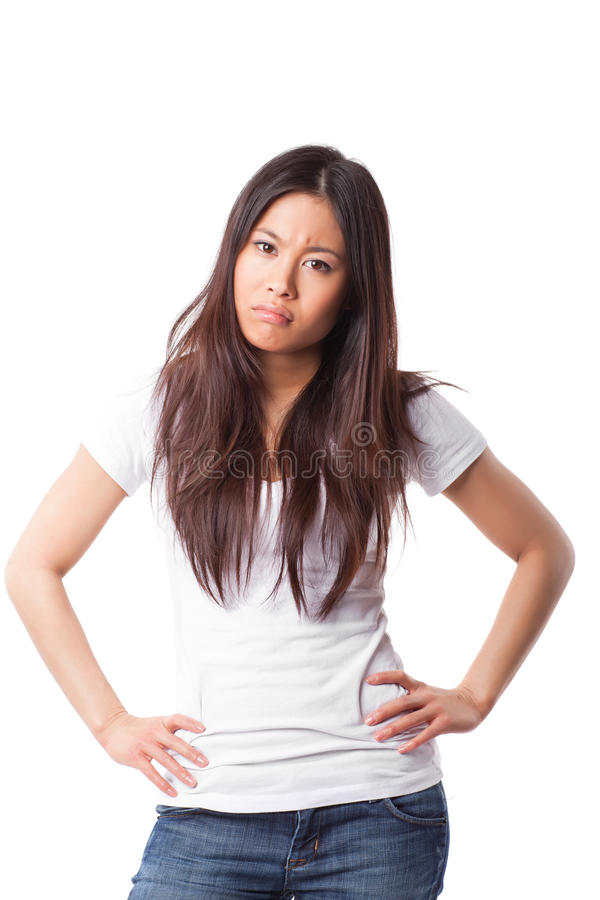 Angry asian woman royalty free stock photos