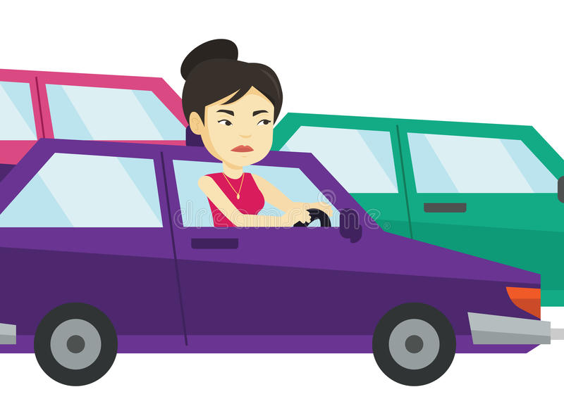 Angry asian woman in car stuck in traffic jam. Angry asian car driver stuck in traffic jam. Irritated young woman driving a car in traffic jam. Agressive driver vector illustration