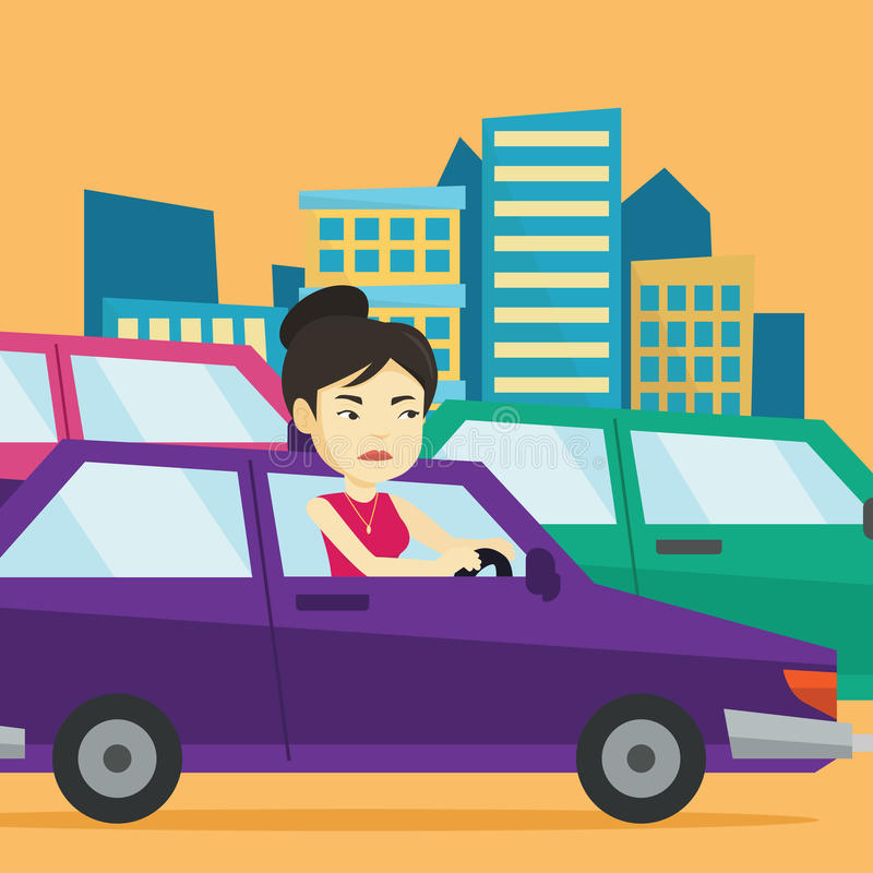 Angry asian woman in car stuck in traffic jam. Angry asian female car driver stuck in a traffic jam. Irritated young woman driving a car in a traffic jam vector illustration