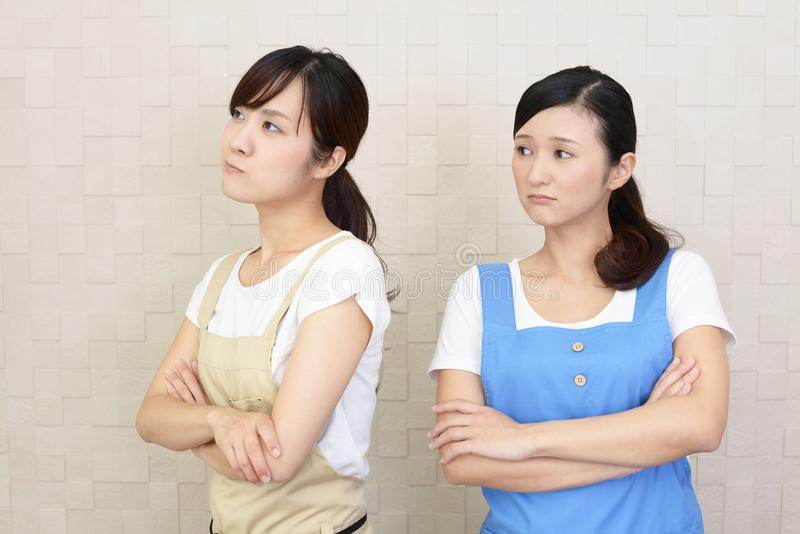 Angry Asian women royalty free stock image