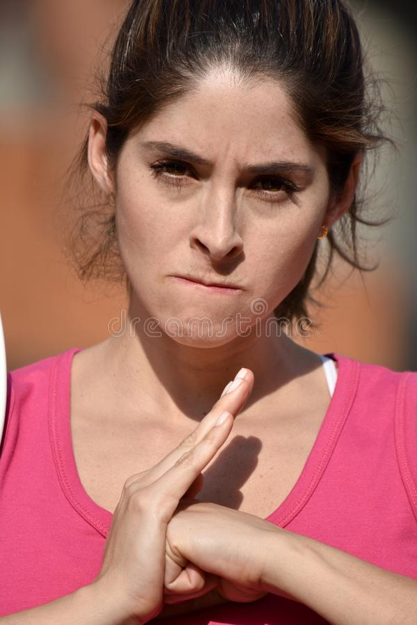 Angry Attractive Diverse Adult Female stock photo