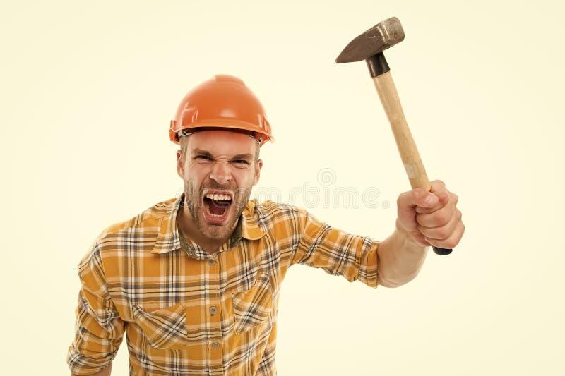 Angry baas Vernietig en bouw Reparatieservice Reparatie en renovatie Handyman-woningreparatie Reparatie en stock afbeelding