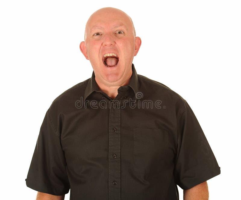 Download Angry bald man shouting stock image. Image of cross, angry - 26364097