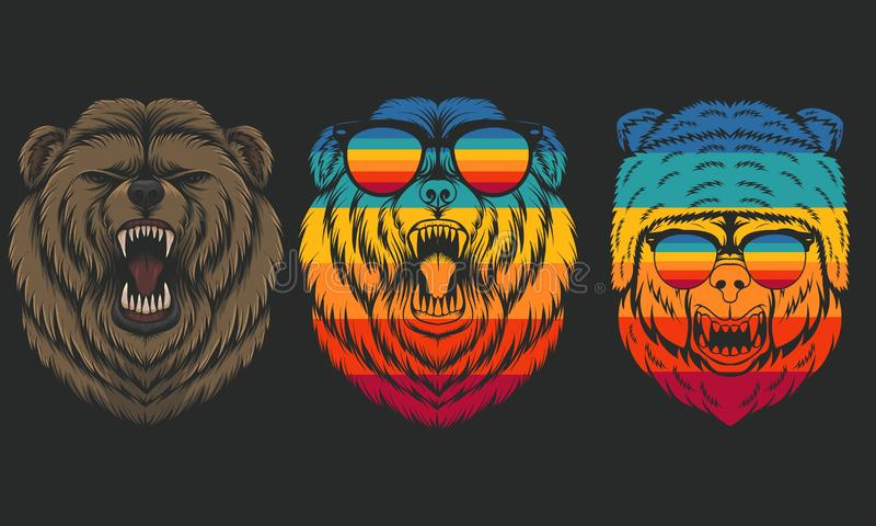 Angry Bear retro vector illustration royalty free illustration