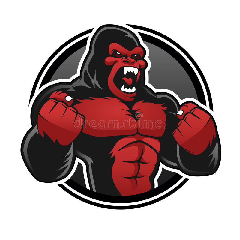 Angry big gorilla.Red gorilla vector illustration