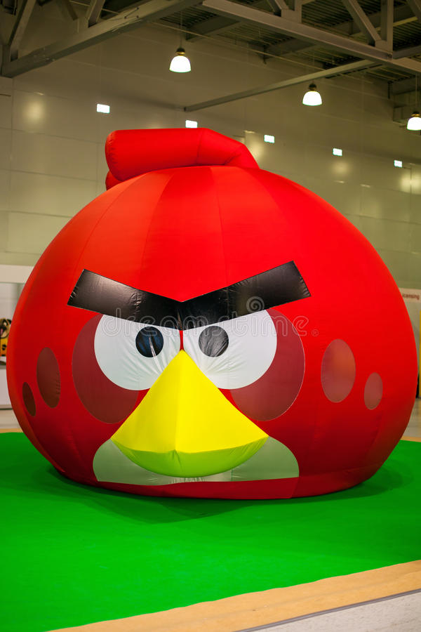 Angry Bird installation. At toy exhibition in Moscow, Russia 13.03.2014 royalty free stock photos