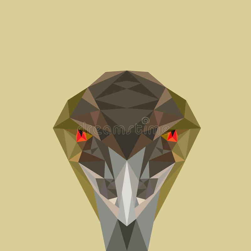 Angry bird, low poly vector illustration. Low poly vector illustration of angry bird, Emu. Concept of angry, hostility or watchful stock illustration