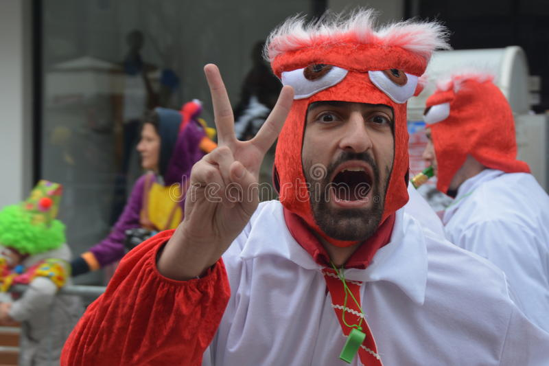 Angry bird. A man with angry bird costume in carnival xanthi greece stock photo