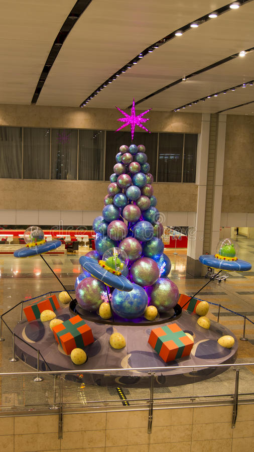 Angry Bird On UFO Sphere Christmas Tree stock images