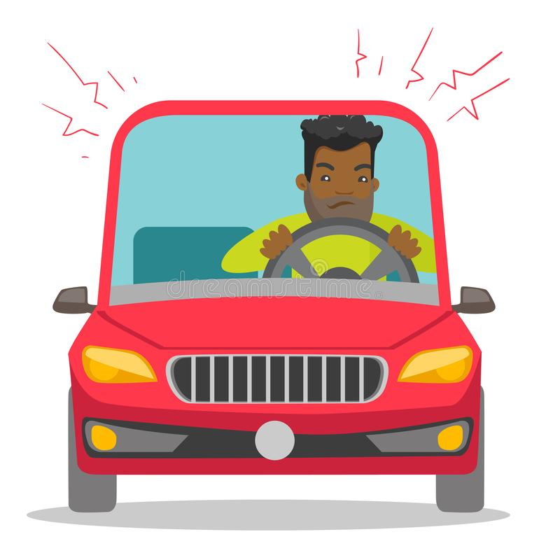 Angry black man in car stuck in traffic jam. Angry black man in a car stuck in traffic jam. Irritated young hipster man with beard driving a car in a traffic vector illustration