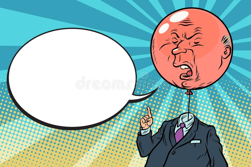 Angry bloated red boss bubble stock illustration