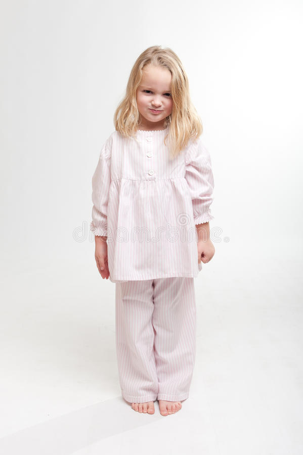 Download Angry Blonde Kid In Her Pajamas Stock Photo - Image of sweet, pretty: 21755506