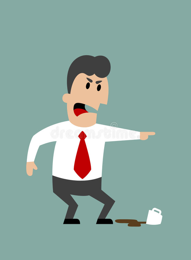 Angry boss or businessman yelling and pointing. With spilled cup of coffee at feet. Flat design royalty free illustration