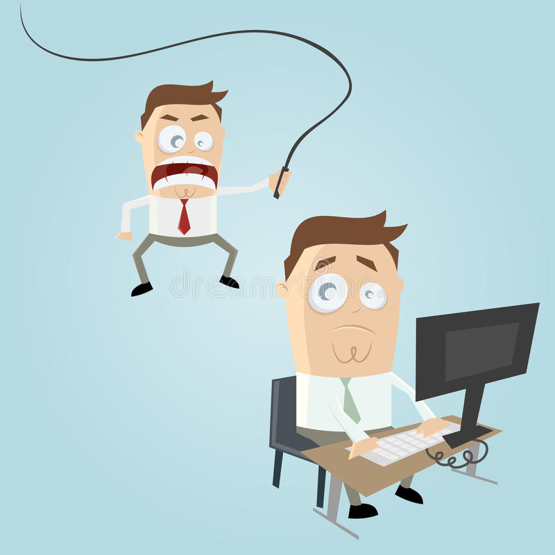 Angry boss cartoon stock illustration