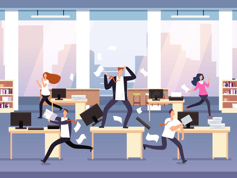 Angry boss. Chaos in office with employees in panic. Businessman in stress and deadline vector concept stock illustration
