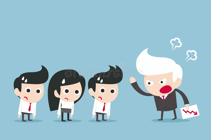 Angry boss stock illustration