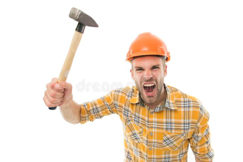 Angry boss. Destroy and build. Repair service. Repair and renovation concept. Handyman home repair. Repairing and. Renovating. Home improvement. Man in helmet stock photo