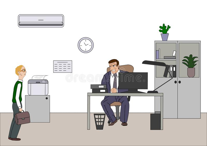 Angry boss with employee. Director worries about poor results and and point at diagram at flipchart in the office. Work space with. Computer. desk, printer for royalty free illustration