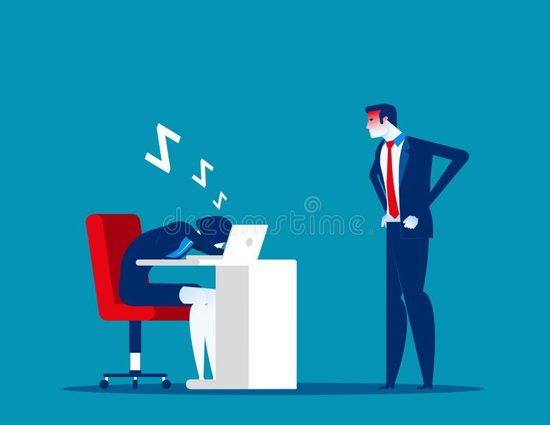 Angry boss looking office worker relaxing at desk during work. Tired asleep on a workplace. Concept business lazy employee vector. Illustration vector illustration