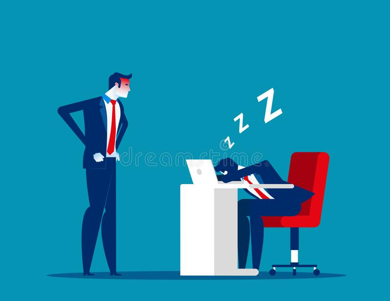 Angry boss looking office worker relaxing at desk during work. Tired asleep on a workplace. Concept business lazy employee vector. Illustration stock illustration