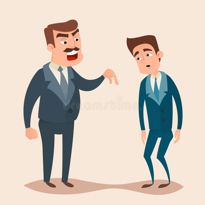 Angry boss man character shouting to employee stock illustration