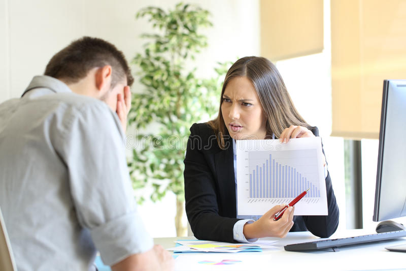 Angry boss scolding to an employee royalty free stock images