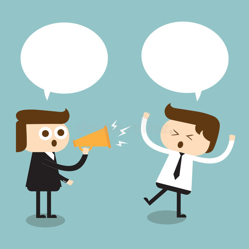 Angry boss screaming in megaphone stock illustration