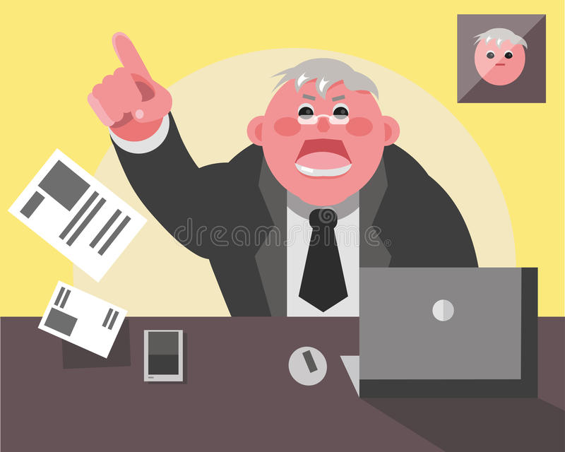 Angry boss screaming. Boss screaming and throws documents, he`s angry vector illustration