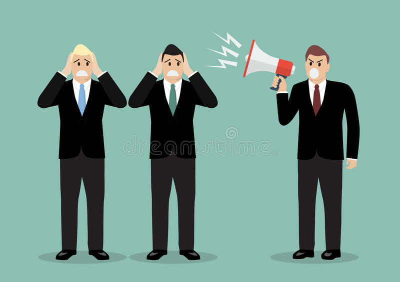Angry boss screaming to businessmen royalty free illustration