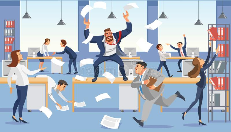 Angry boss shout in chaos office because of failure deadline. Stressed vector cartoon characters. Office workers hurry up with job. Fun cartoon characters stock illustration