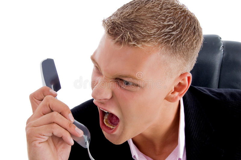 Download Angry Boss Shouting On Phone Stock Photo - Image: 8380010