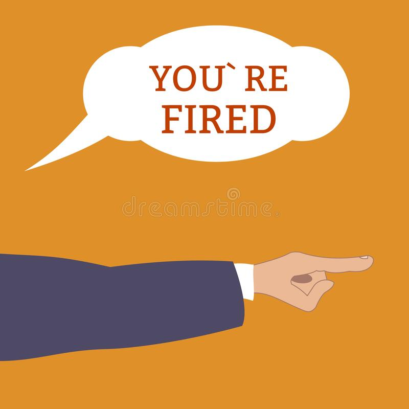 Angry boss shouts : Youre fired and points by hand at away Employee gets fired. dismissed from his work. Flat style, vector stock illustration