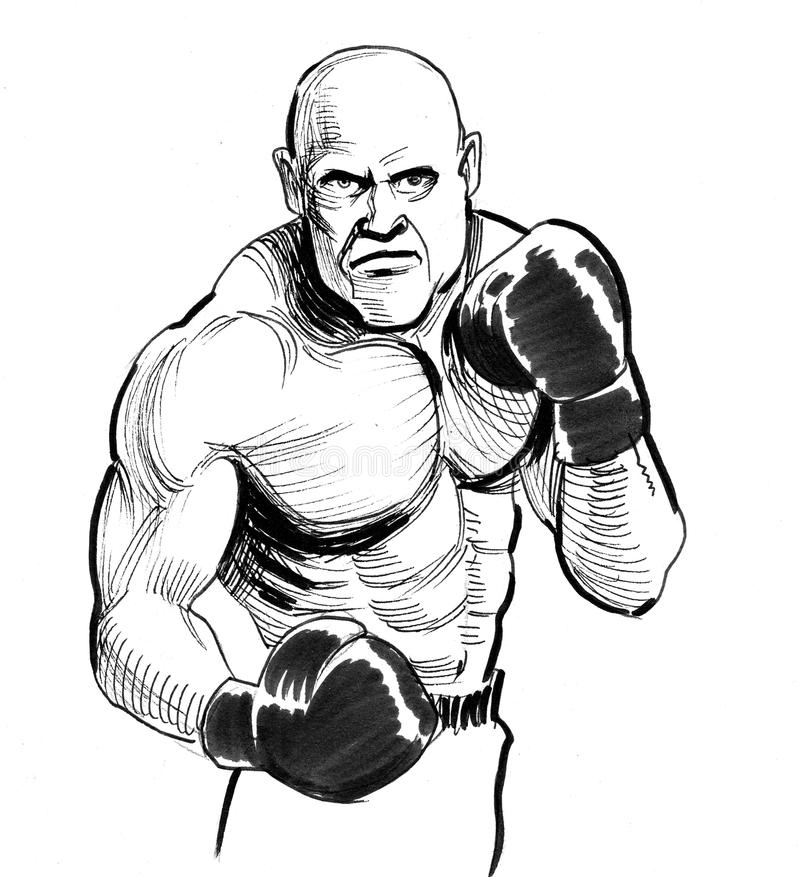 Angry boxer stock illustration