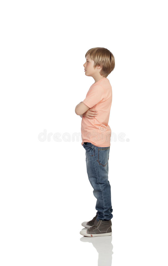 Angry boy with serious gesture. Full profile of a angry adolescent with serious gesture isolated on white background stock photography