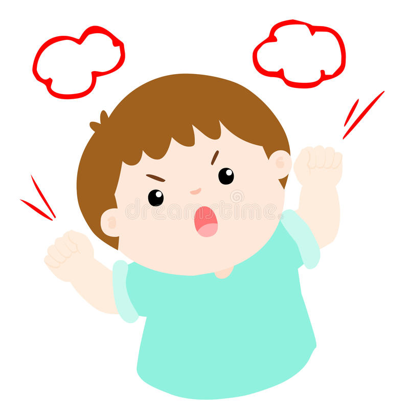 Angry boy shout loudly on white background royalty free illustration
