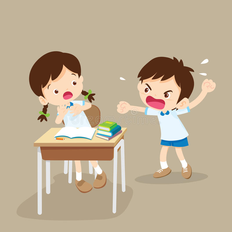 Angry boy shouting at friend royalty free illustration