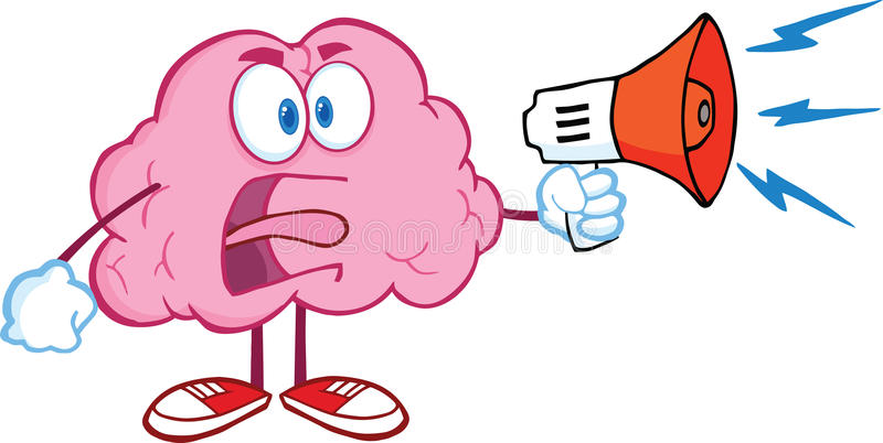 Angry Brain Character Screaming Into Megaphone. Angry Brain Cartoon Character Screaming Into Megaphone stock illustration