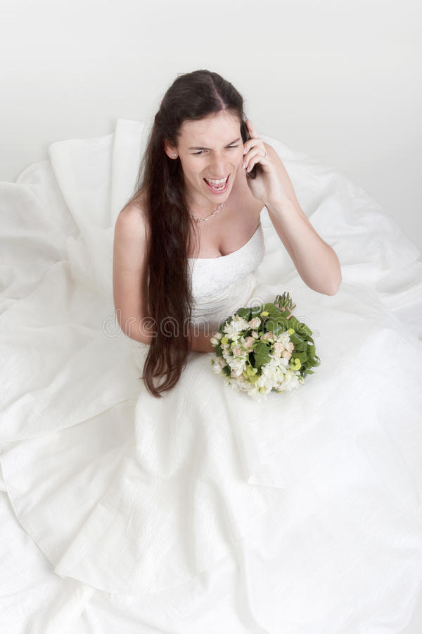 Download Angry bride on cell phone stock image. Image of call - 21336785