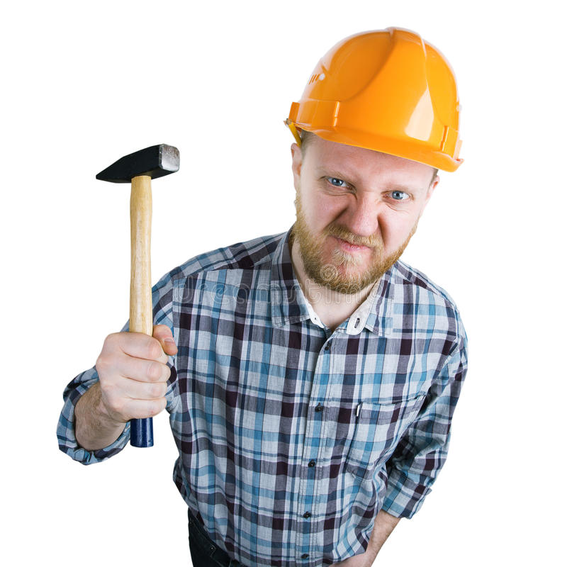 Angry builder iwith a hammer royalty free stock photos