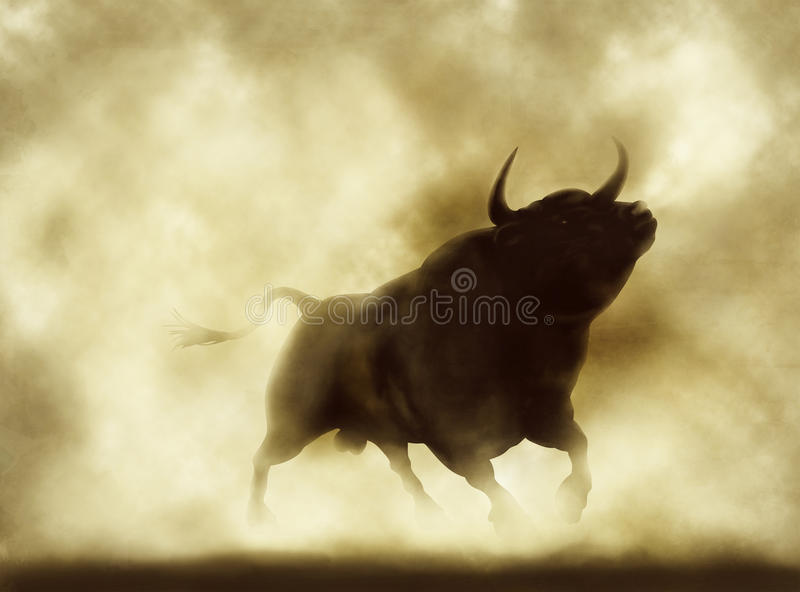 Angry bull. Illustration of an angry bull silhouette in a smoky or dusty atmosphere