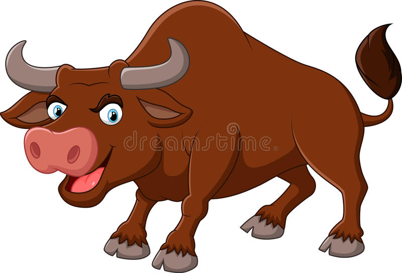 Angry bull cartoon stock illustration