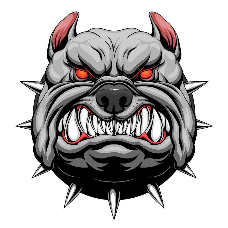 Angry bulldog head. Head of stylized furious bulldog. Vector illustration royalty free illustration